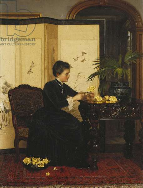 Lady Making Posies from Primroses, 1887 (oil on panel)