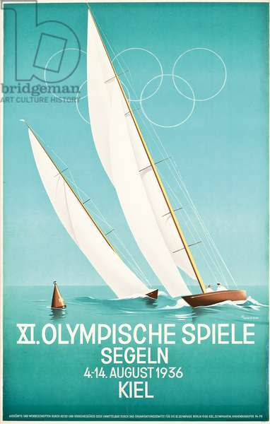 Poster advertising sailing at the 1936 Olympic Games, 1936 (colour lithograph)