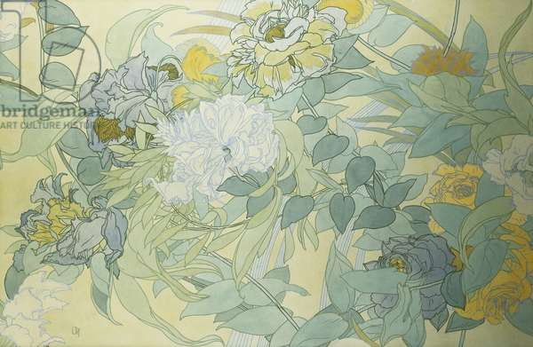 Japanese Flowers; Les Fleurs Japonaise, (pen and ink and bodycolour)