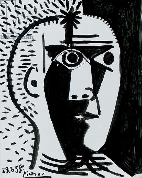Self portrait, 1955 (ink on cardboard)