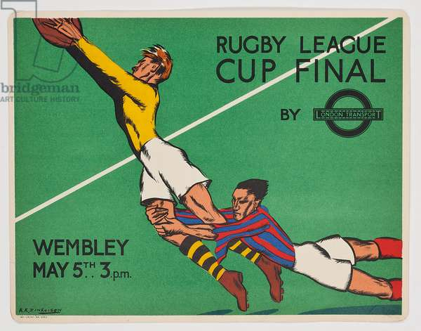A London Transport panel poster advertising the Rugby League Final at Wembley Stadium, 1934 (colour lithograph)