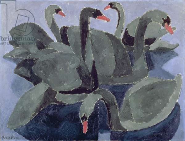 Black Swans on a Blue Background, c.1909 (oil on canvas)