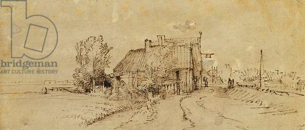 An Inn by a Roadside, (pen and brown ink, brown wash on pale grey preparation)