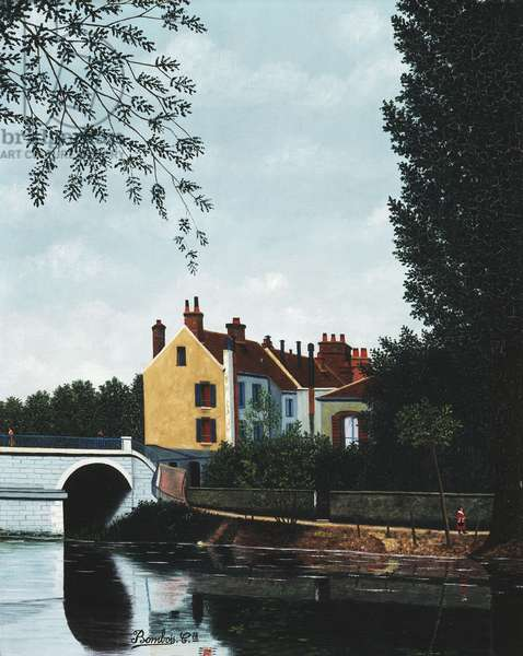 The Yellow Facade on the Edge of the Water; La Facade jaune au Bord de L'eau,  (oil on canvas)