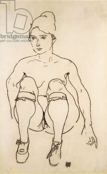 Seated Nude with Shoes and Stockings; Sitzende Akt mit Schuhen und Strumpfen, 1918 (pencil on paper)