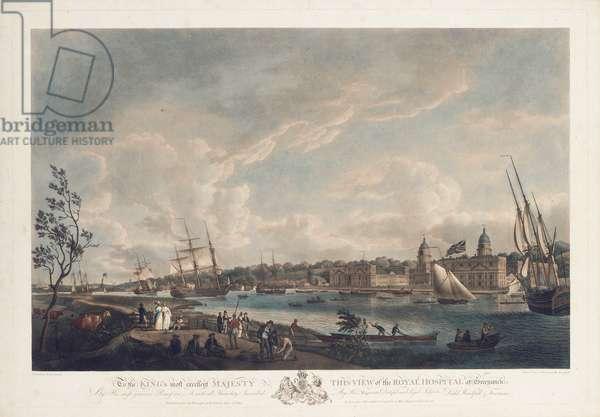View of the Royal Hospital at Greenwich, 1793 (hand-coloured aquatint)