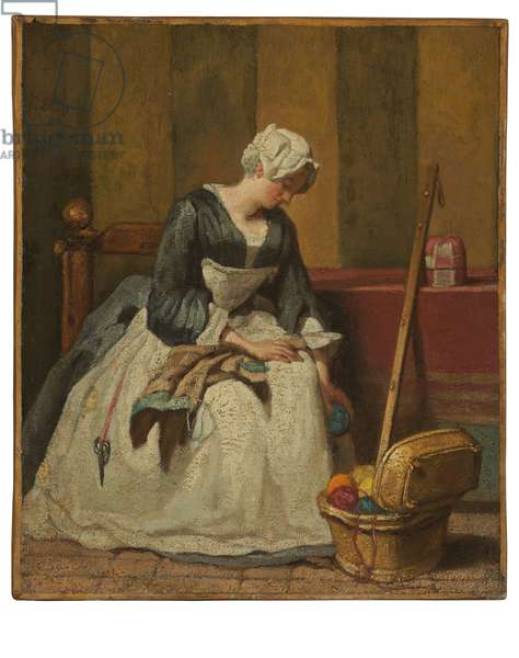 The Embroiderer (oil on canvas, transferred from panel)