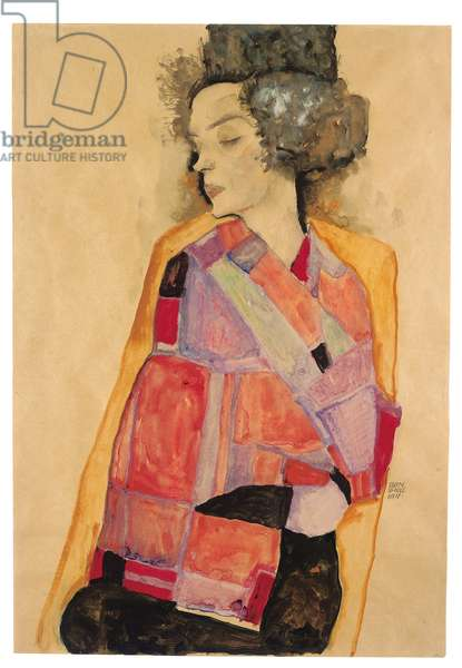 Dreaming Woman (Gerti Schiele), 1911 (gouache, w/c, wash & pencil on paper)