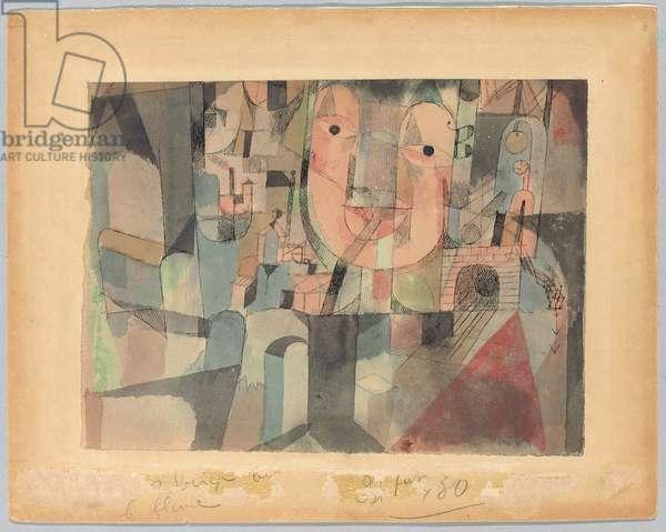 The Man of Travel; Der man der reise, 1918 (w/c & pen & ink on paper, mounted)