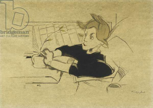 The Convalescent; Konvalescenten, 1938-39 (lithograph printed in colours on buff grey paper)