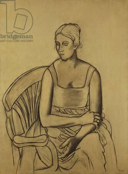 Portrait of Olga Kokhlova, 1920 (oil, peinture a l'essence and charcoal on canvas)