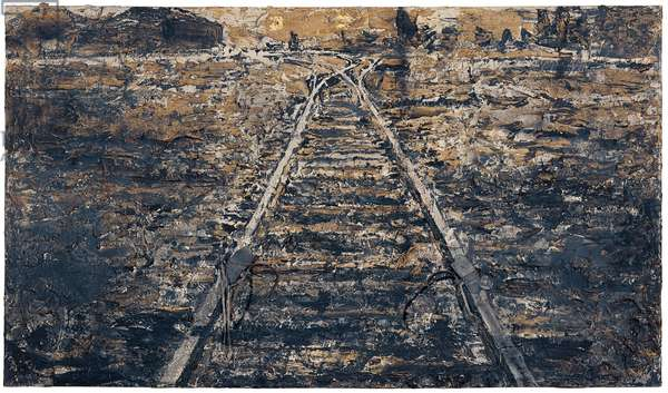Iron Path, 1986 (oil, acrylic, olive branches, lead, iron, gold leaf & emulsion on canvas)