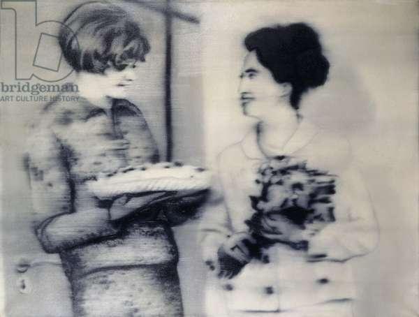 Two Women with a Cake; Zwei Frauen mit Torte, 1965 (oil on canvas)