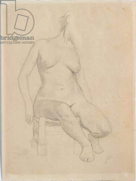 Seated nude (pencil on paper) (pair to 714787)