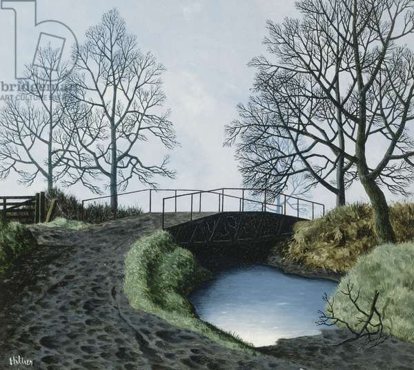 The Bridge and the Ford, Alhampton, 1961 (oil on board)