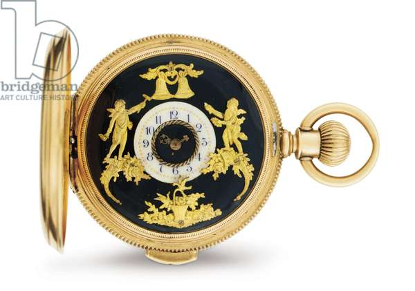 Pocket watch with concealed erotic automaton, Martel Watch Co., c.1915 (gold, nickel & jewels)