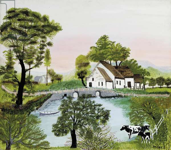 Farm Along the River, c.1940 (oil & tempera on board)