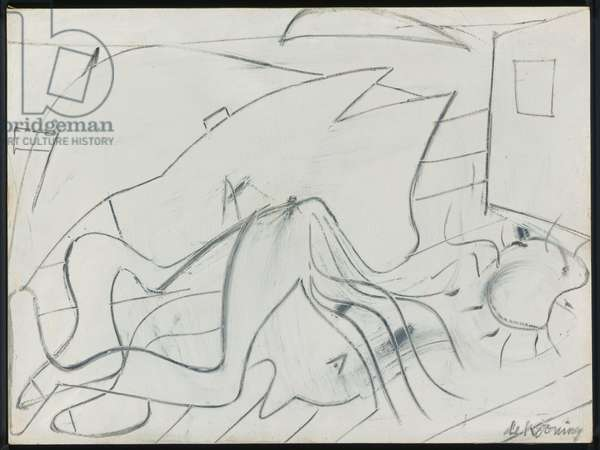 Untitled (Reclining Figure) c.1947 (oil & charcoal on masonite)