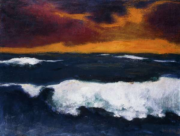 Sea and Evening Clouds; Meer und Abendwolken,  (oil on canvas)