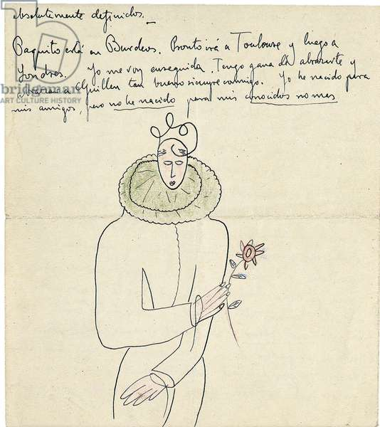 Autograph letter to Melchor Fernandez Alamgro, Granada, late January 1926 (pen & ink and crayon on paper) (see also 957195)