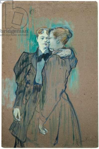 Two Women Waltzing; Deux femmes valsant, 1894 (oil on board)