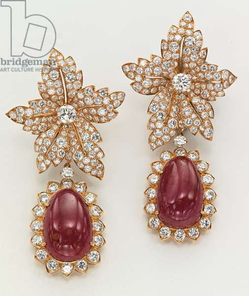 Pair of ear pendants, given to Jackie Kennedy by Aristotle Onassis (rubies, diamonds & gold)