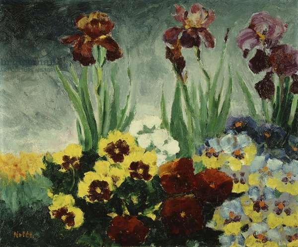 Iris and Pansy; Iris und Stiefmutterchen, 1929 (oil on panel)