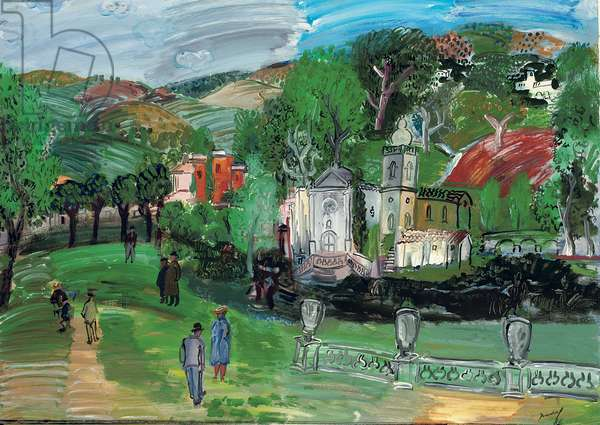 Landscape with the Church of Bequinage; Paysage avec l'eglise du Bequinage, 1986 (oil on canvas)