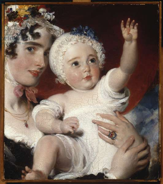 Priscilla, Lady Burghesh, holding her son, the Hon. George Fane, 1820 (oil on canvas)