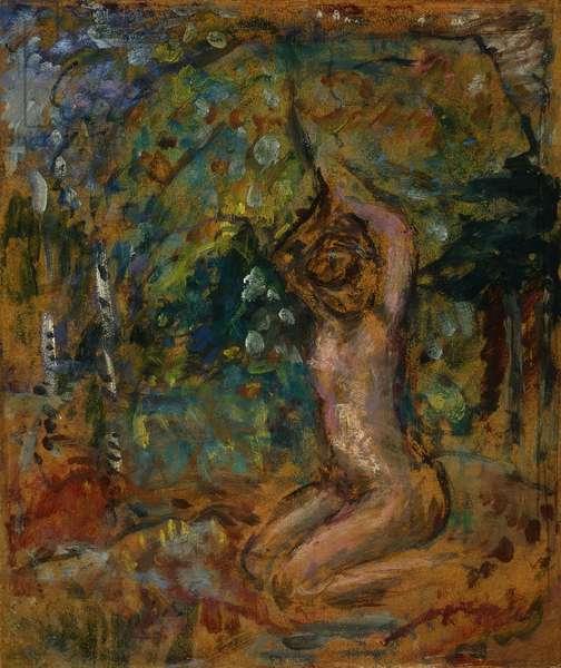 Petit Nu, bras leves, dans un Paysage, c.1907 (peinture a la colle on board laid down on cradled panel)