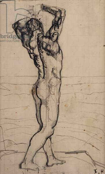 Male Nude, Study for The Truth; Mannlicher Akt, Studie zur Wahrheit, c.1902 (pencil and India ink on paper)