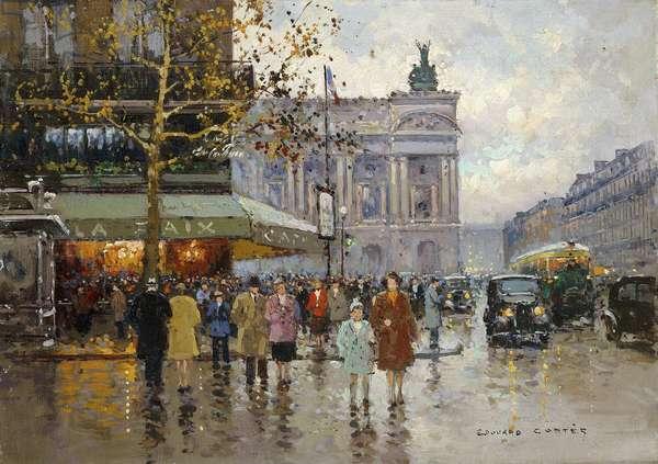 Cafe de la Paix, Paris, (oil on canvas)