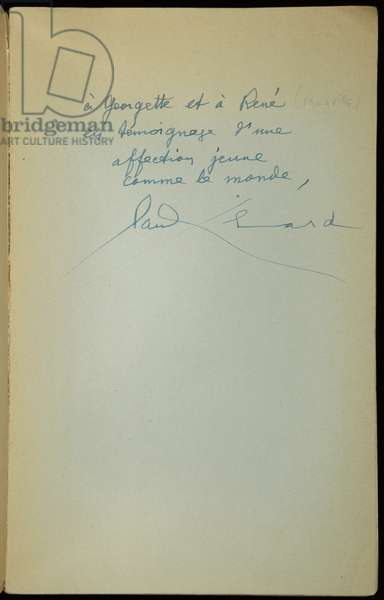 Autograph to René Magritte, inset page of 'To the German Rendezvous, 1942', 7th April 1945 (pen & ink on paper)