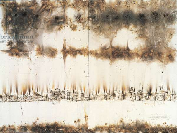 One of a set of fourteen drawings for Asia-Pacific Economic Cooperation, 2002 (gunpowder on paper)
