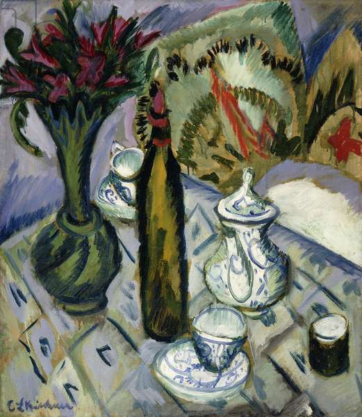 Teapot, Bottle and Red Flowers; Teekanne, Flasche und Rote Blumen, 1912 (oil on canvas)