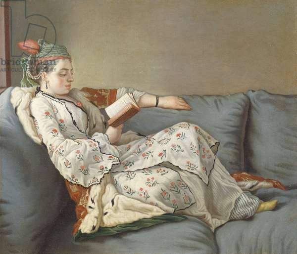 La Sultane Lisant', A Lady in Turkish Costume Reading on a Divan,  (oil on canvas)