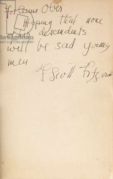 Author's inscription on the front endpaper of a first edition of 'All the Sad Young Men', 1926 (pen & ink on paper)