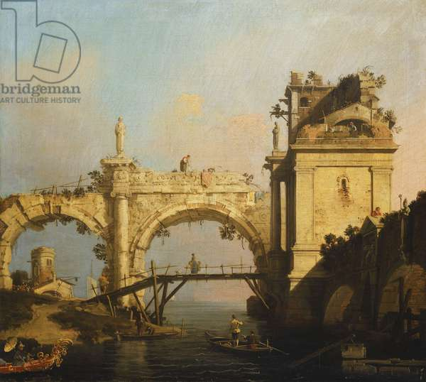 A Capriccio of a ruined Renaissance Arcade and Pavillion by a Waterway crossed by a wooden Footbridge, an Oriental in an exotically decorated boat in the foreground,  (oil on canvas)