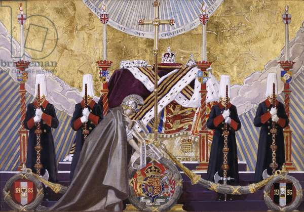 King George V lying in state in Westminster Hall, 1937 (pencil, gold paint and watercolour heightened with white on boar)