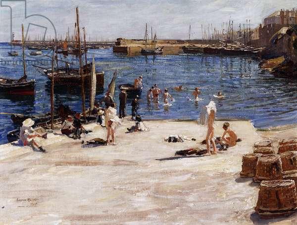 Boys Bathing, Newlyn Quay, 1910 (oil on canvas)