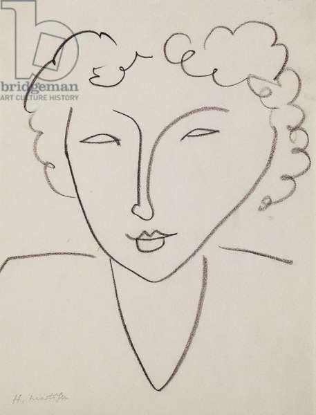 Head of Woman; Tete de Femme, 1952 (charcoal on paper)