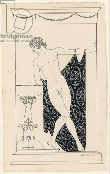 Nijinsky in 'Narcisse', 1911 (ink and gouache on paper)