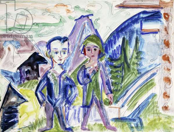 Couple in a Landscape (recto) Pferd and Karren (verso), 1919 (gouache and watercolour over pencil (recto); black wax crayon on)