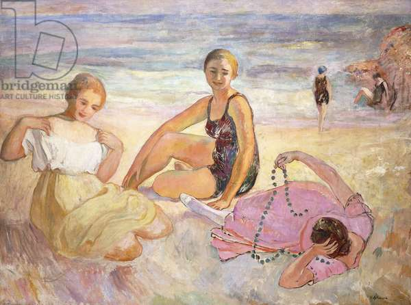 Three Women on the Beach; Trois Femmes a la Plage,  (oil on canvas)