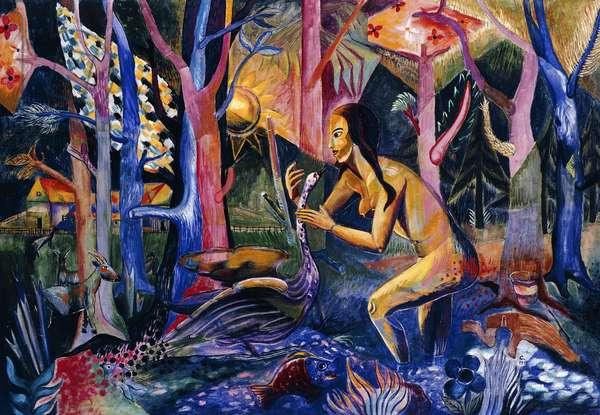 Girl with Swan; Madchen mit Schwan, 1919 (oil on canvas)