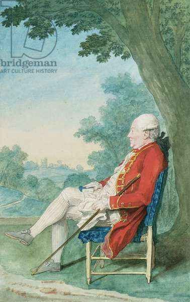 Mr. O'Flanagan seated in profile to the left in a Park, 1771 (chalk & w/c on paper)