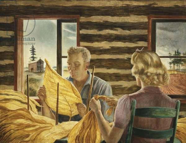 Grading Tobacco, North Carolina, 1941 (egg tempera on masonite)
