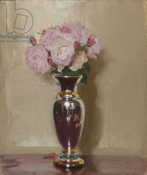 Pink Roses in a Silver Lustre Vase, 1913 (oil on canvas laid on board)