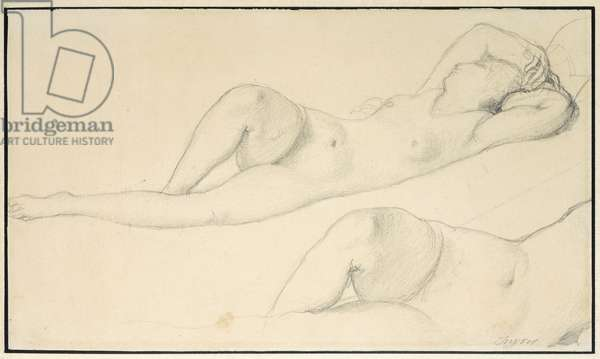 A Reclining Female Nude,  (pencil on paper)