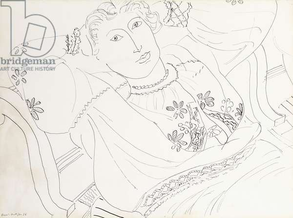 Lydia in a Romanian Blouse; Lydia en Blouse Romaine, 1936 (pen and india ink on paper)
